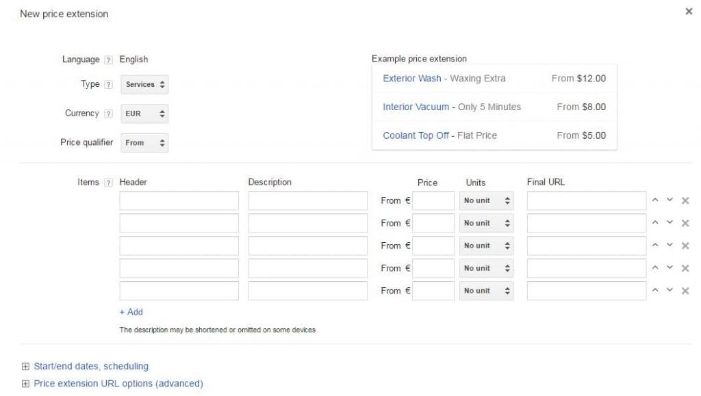 Extensão de Preços Google AdWords