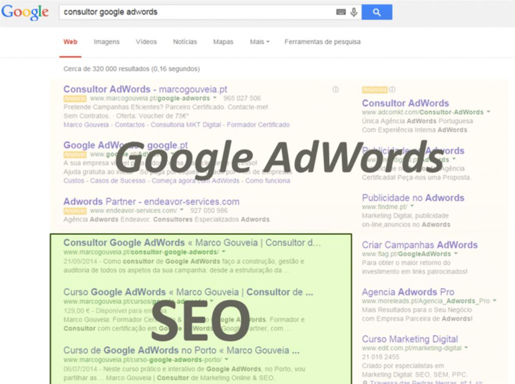 Diferenças Google AdWords e SEO