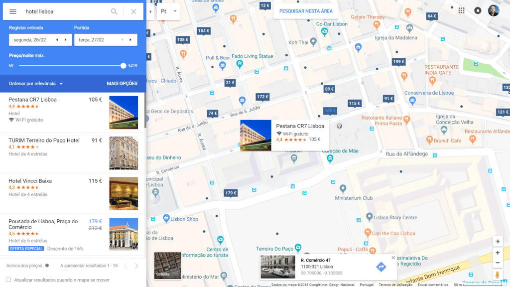 Google Hotel Ads Map Results